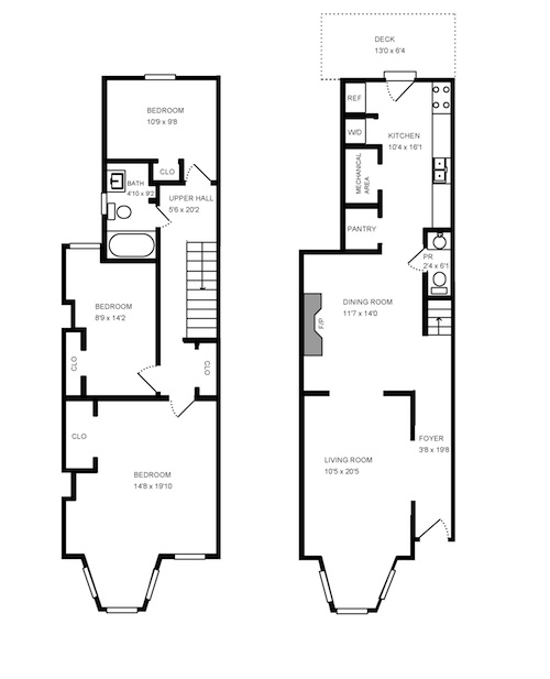 Row home floor plans house design plans for Row house layout plan