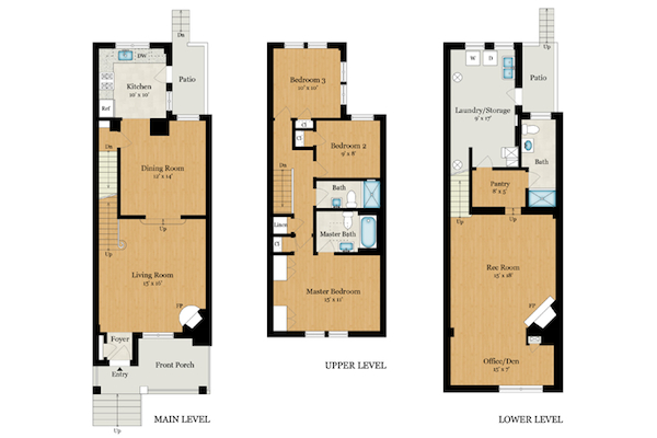 Floor plan row house house design plans for House plans wa
